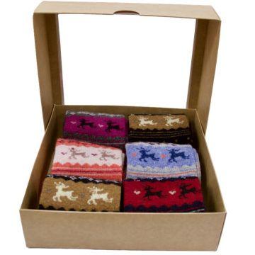 Moteriškos kojinės su elniukais 6 poros dėžutėje