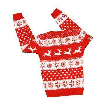 Raudonas Megztinis Merginoms Su Kalėdiniais raštais